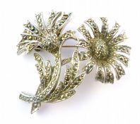 Vintage Sphinx Marcasite Studded Double Flower Floral Brooch.